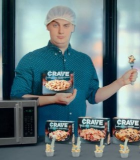 An image of the Crave TV dinner spokesman who looks shockingly like Andrew Scheer