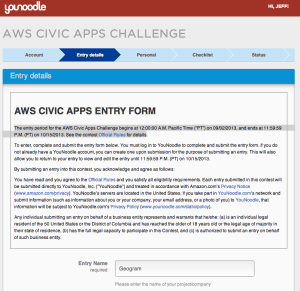 My AWS Civic App Entry Form at YouNoodle