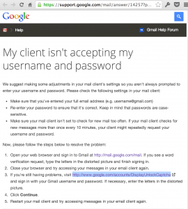 Google Account Help Link to Permit Access