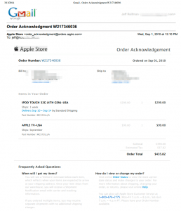 My original purchase order from Apple of Model #MC572LL/A