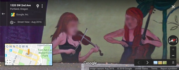 Portland Wild murals privacy on Street View