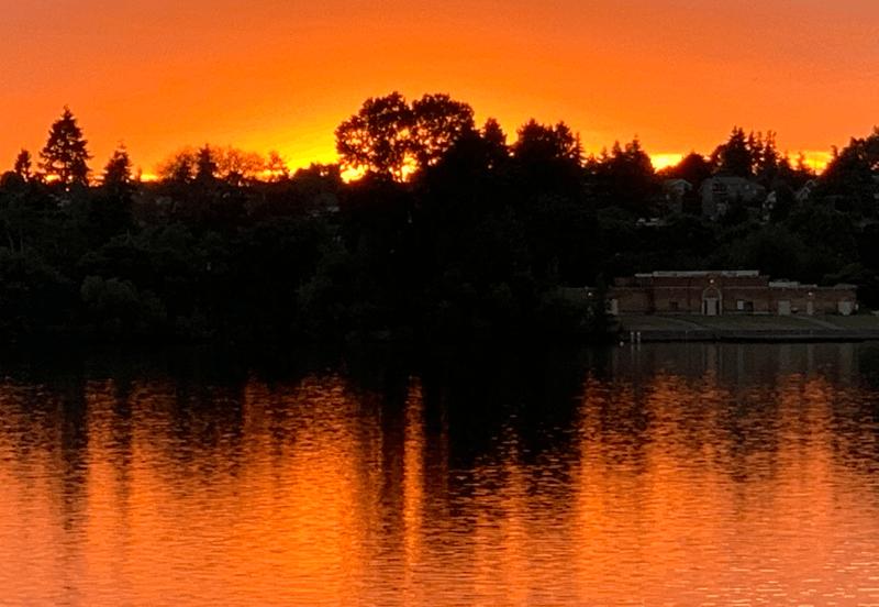 sunset, green lake, seattle