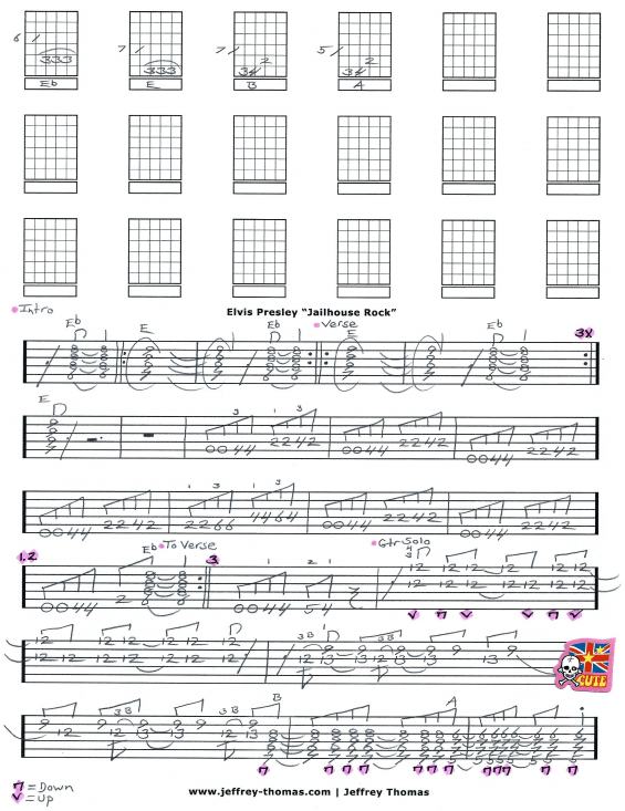 Elvis Presley Jailhouse Rock Free Guitar Tab by Jeffrey Thomas