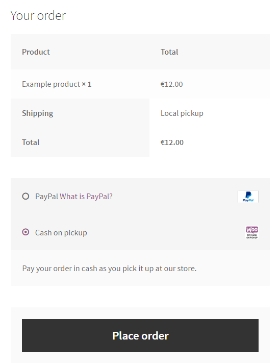 Cash on pickup on the checkout page