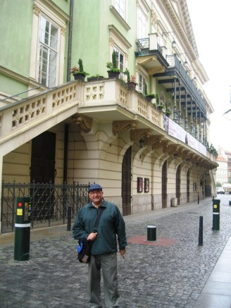 JC outside the Estates Theatre, where Mozart conducted the premiere of his opera Don Giovanni. Prague 2009.