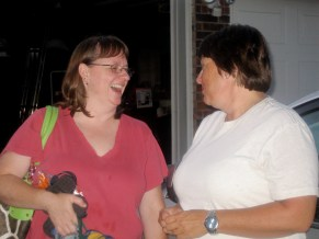 My sisters, Karen and Beth. I'll not divulge the topic of their conversation, but the laughter is real.