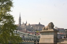 St. Matthias Church and my hotel in Castle District as viewed from near the Chain Bridge.