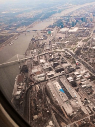 Flying over the Mississippi yesterday; from the top, the Arch, the lovely old Eads Bridge, and the graceful new I-70 bridge nearing completion.