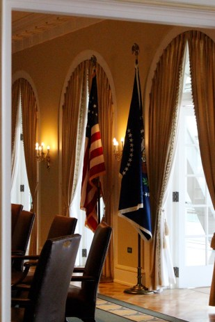Flags in the replica of the Cabinet Room.