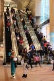 Times Square shopping center escalators.