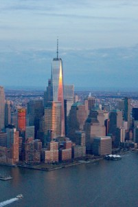 From a helicopter over the Hudson River.