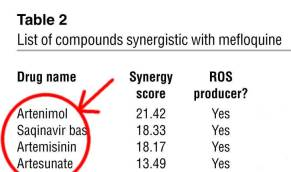 Drugs which synergize with mefloquine Artemisinin