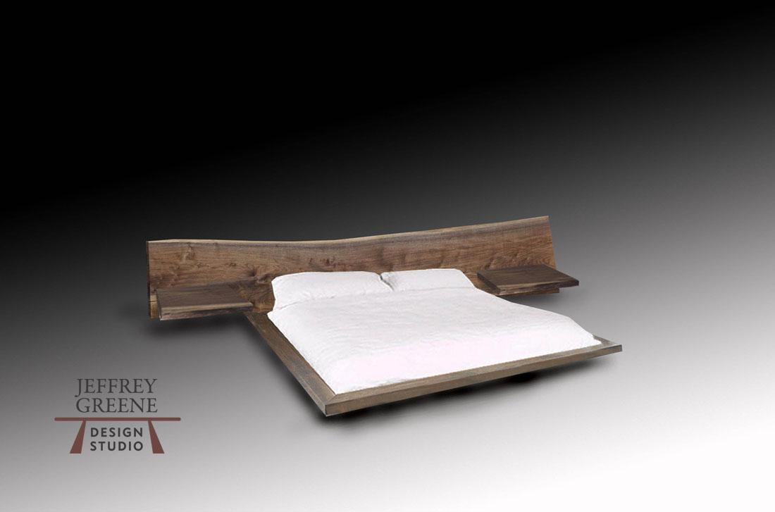 Live Edge Wood Slab Platform Bed King Size Jeffrey Greene