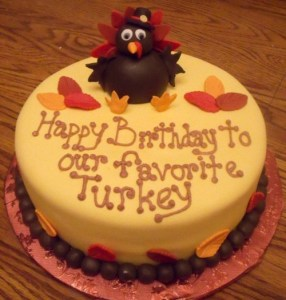 Turkey birthday cake