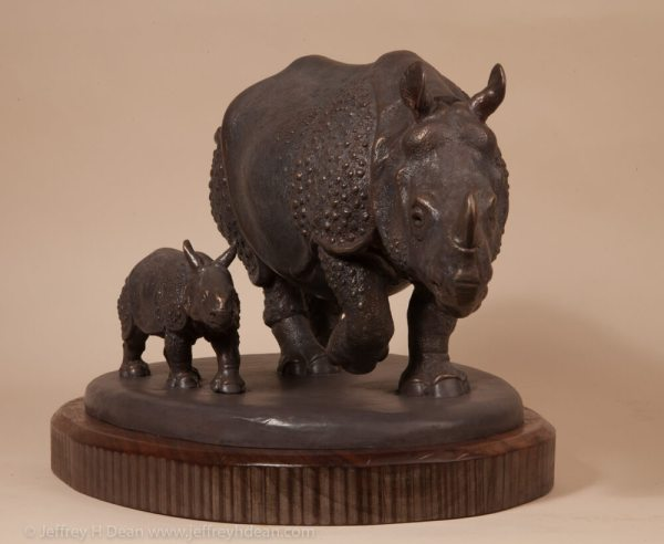 Mother And Baby Rhino - Jeffrey Dean