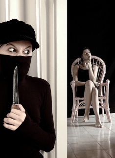 Masked woman holding a knife