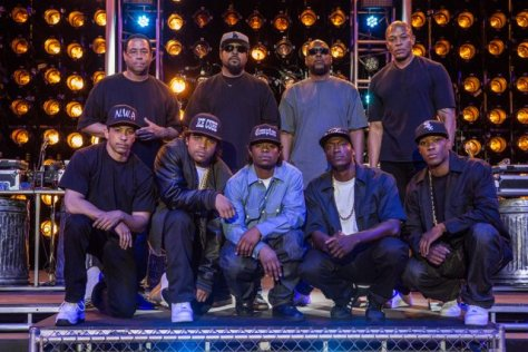 (Clockwise from top left) DJ YELLA, ICE CUBE, MC Ren, DR. DRE, COREY HAWKINS as Dr. Dre, ALDIS HODGE as MC Ren, JASON MITCHELL as Eazy-E, O?SHEA JACKSON, JR. as Ice Cube and NEIL BROWN, JR. as DJ Yella on the set of ?Straight Outta Compton?. Taking us back to where it all began, the film tells the true story of how these cultural rebels?armed only with their lyrics, swagger, bravado and raw talent?stood up to the authorities that meant to keep them down and formed the world?s most dangerous group, N.W.A.