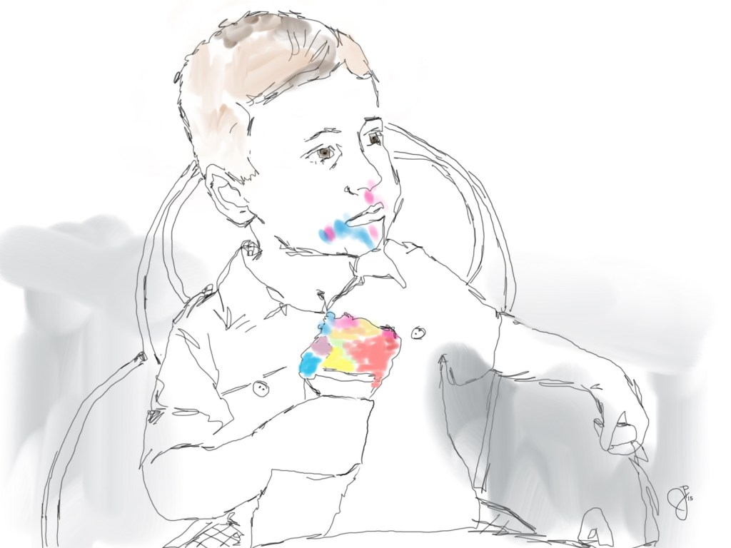 sketch of young boy eating colorful ice cream by jeffrey pillow