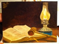 Day 13  Still life : Bible, gavel and oil lamp, oil on ...