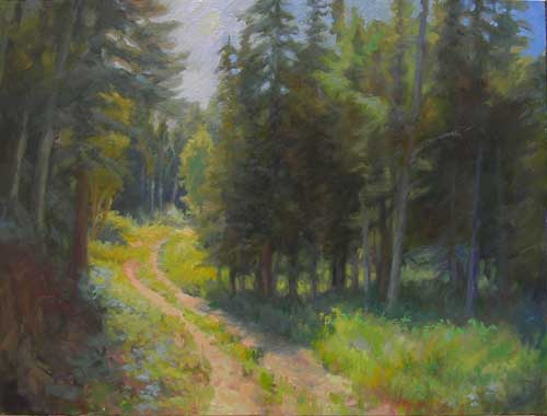 An oil painting of a path leading into a forest in Alaska.