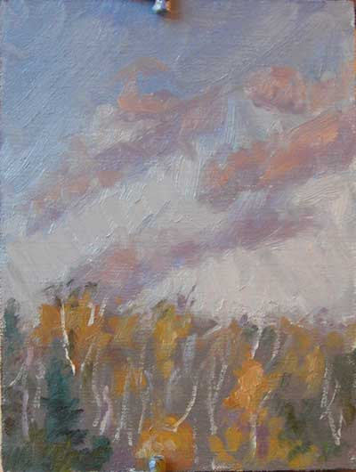 Oil painting show yellow aspen trees and a sky with cloud just before sunset