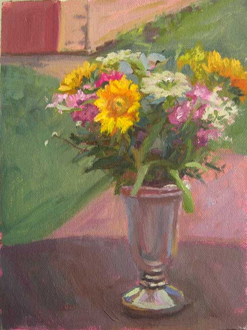 Sunflower Bouquet, Cloudy Day | Floral painting en plein air painting