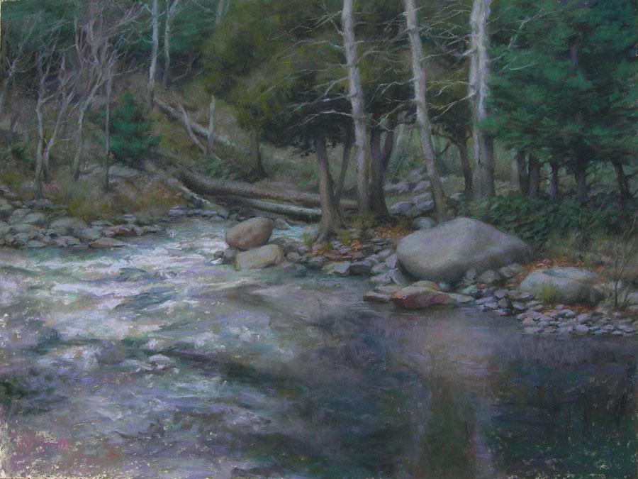 Landscape painting with pastels | Riverside Pastel