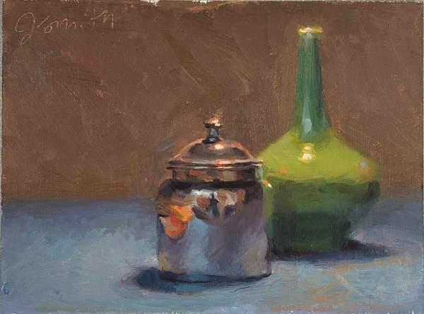 Silver Jar and Green Vase   Jeffrey Smith