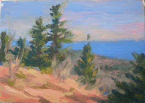 An image of a small oil painting depicting trees along the edge of a cliff, blue sky in the background.