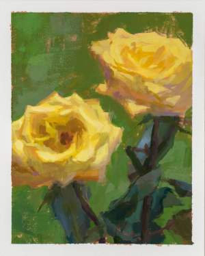 Acrylic gouache painting of 2 yellow roses against a green background by Minnesota painter Jeffrey Smith