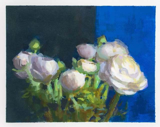 Gouache painting of white ranunculous by Minneapolis painter Jeffrey Smith