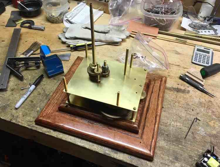 Orrery partially assembled with base