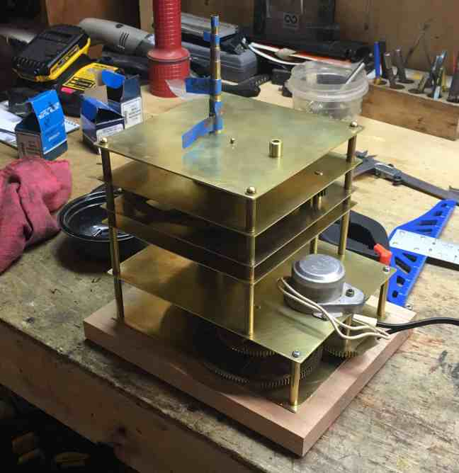Orrery wood base attached 2