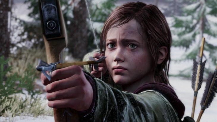 An in-game screenshot from The Last of Us showing Ellie aiming a bow and arrow towards the camera with a concerned look.