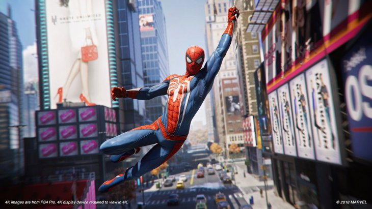 An in-game screenshot showing Spider-Man swinging towards the camera with a bustling daytime city scene behind him.