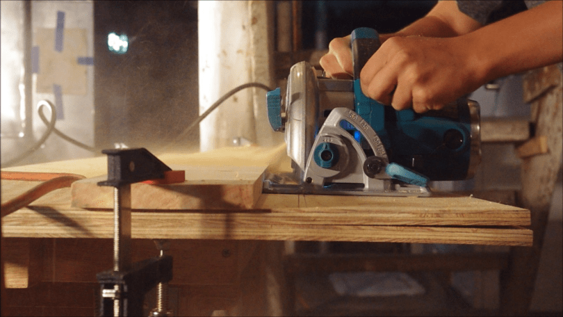 Cut plywood to width with circular saw