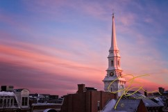 North Church steeple at sunset on a frigid winter's evening