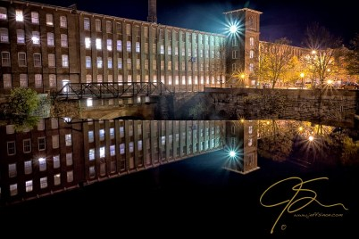 Waterfall At The Cocheco Mill At Night