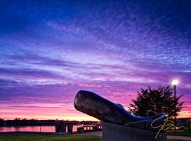 Whale Sculpture At Sunrise. Prescott Park, Portsmouth, NH