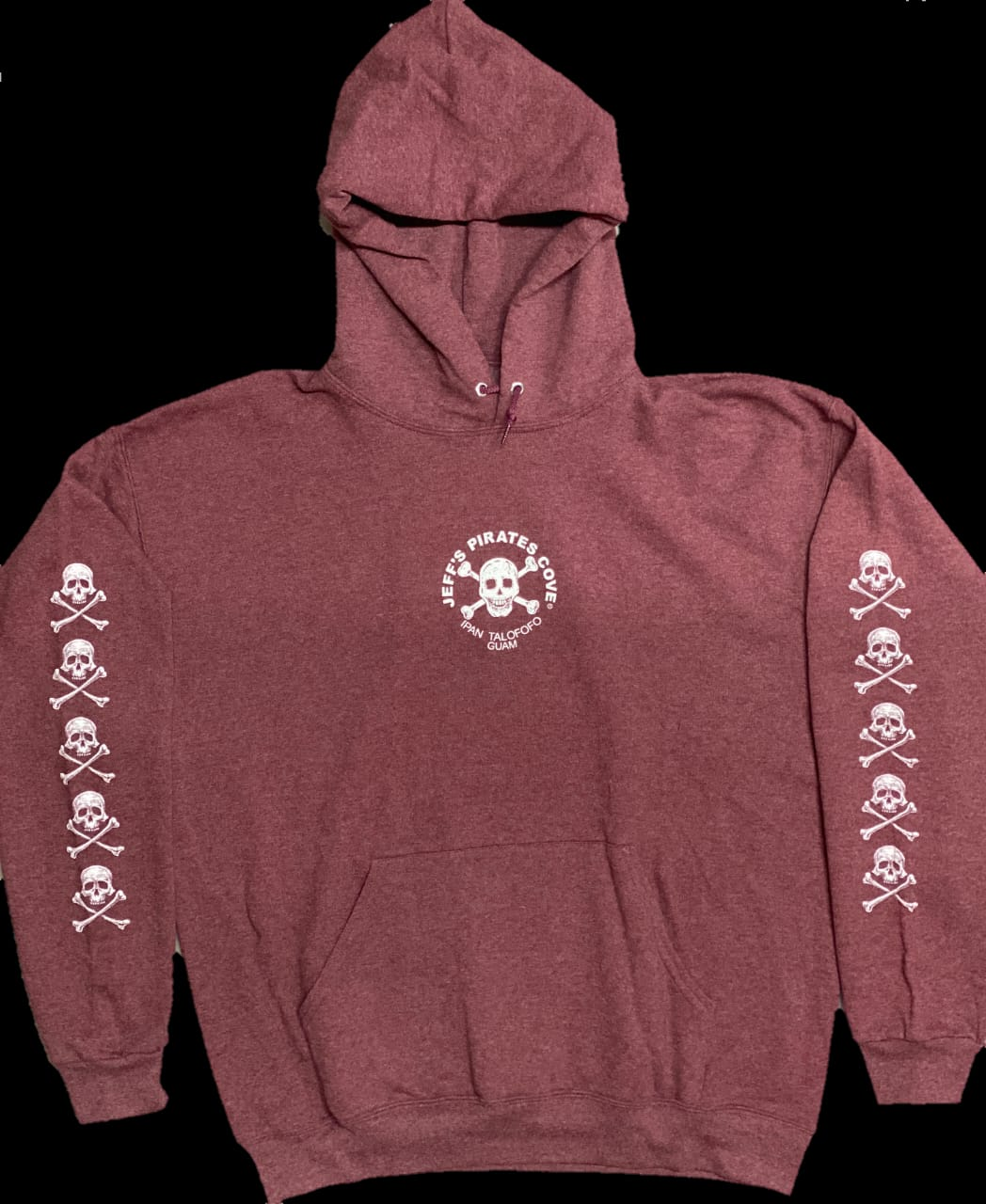 Skull & Cross Bone Maroon Pull over Sweater | Jeffs Pirates Cove Chest
