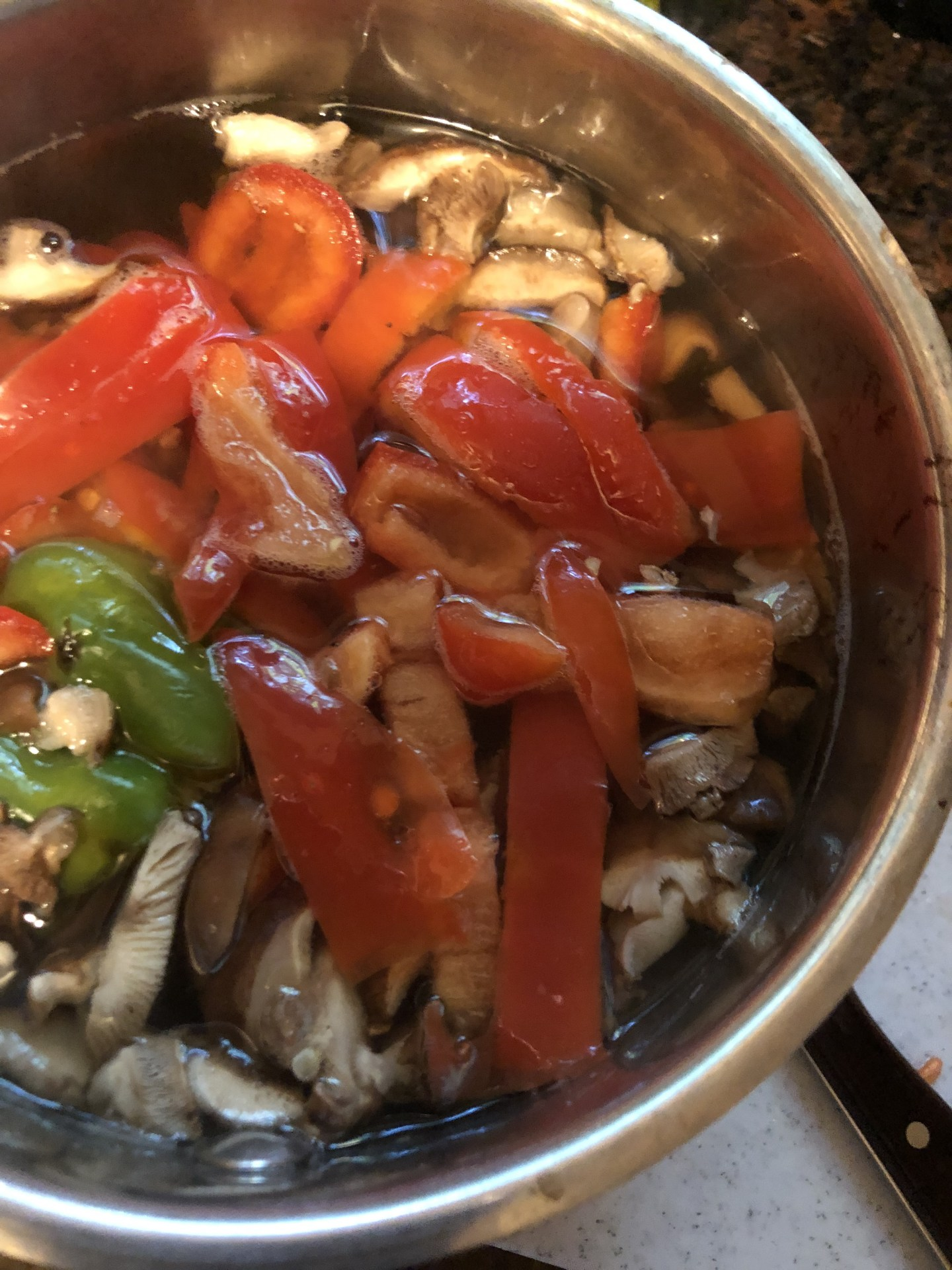 Vegetable stock with mushrooms and onions