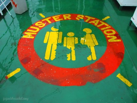 muster station in ferry from Lombok to Bali island