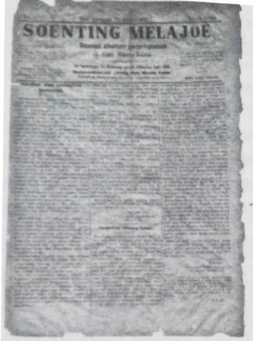 Surat Kabar Soenting Melayoe. Sumber foto: Sunarti, Sastri. Kelisanan dan Keberakasaraan dalam Surat Kabar Terbitan Awal di Minangkabau (1859-1940an), Kepustakaan Populer Gramedia : Jakarta, 2013