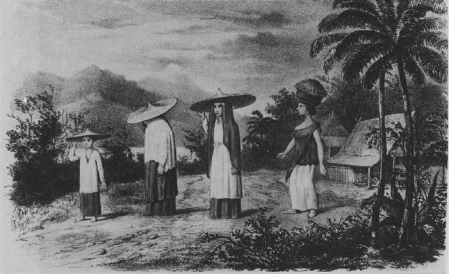Ilustrasi perempuan pada masa Paderi. Sumber: Dobbin, Christiine. 1983. Islamic Revivalism in Changing Peasant Economy; Central Sumatera 1784-1847. Curzon Press: London and Malmo