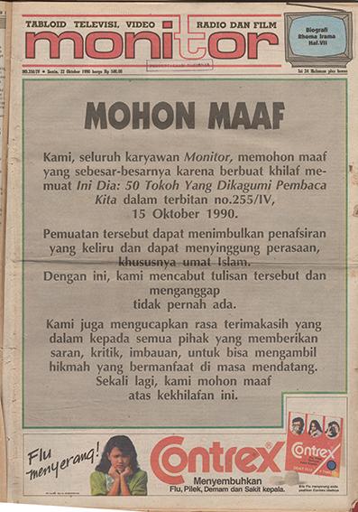 Permintaan maaf di Tabloid Monitor  edisi 256/IV, 22 Oktober 1990.