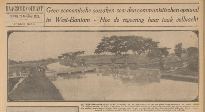 Gambar 2.3 Salah satu pemberitaan di Haagsche Courant tentang pemberontakan di Banten. Sumber foto Haagsche Courant, 20 November 1926