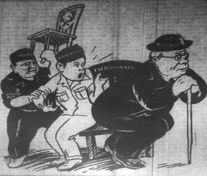 Gambar 6. Tarik-menarik dengan Republik. Sumber karikatur: Koran Merdeka 4 Oktober 1948