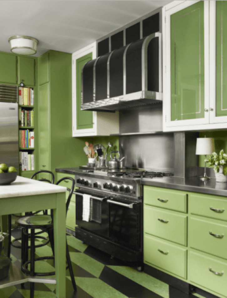 green kitchen cabinets what color walls