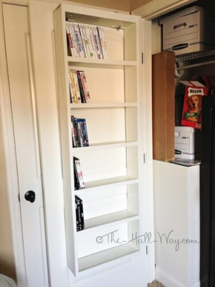 DVD rack behind the door