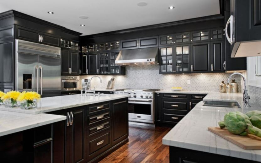 kitchens with black appliances and black cabinets